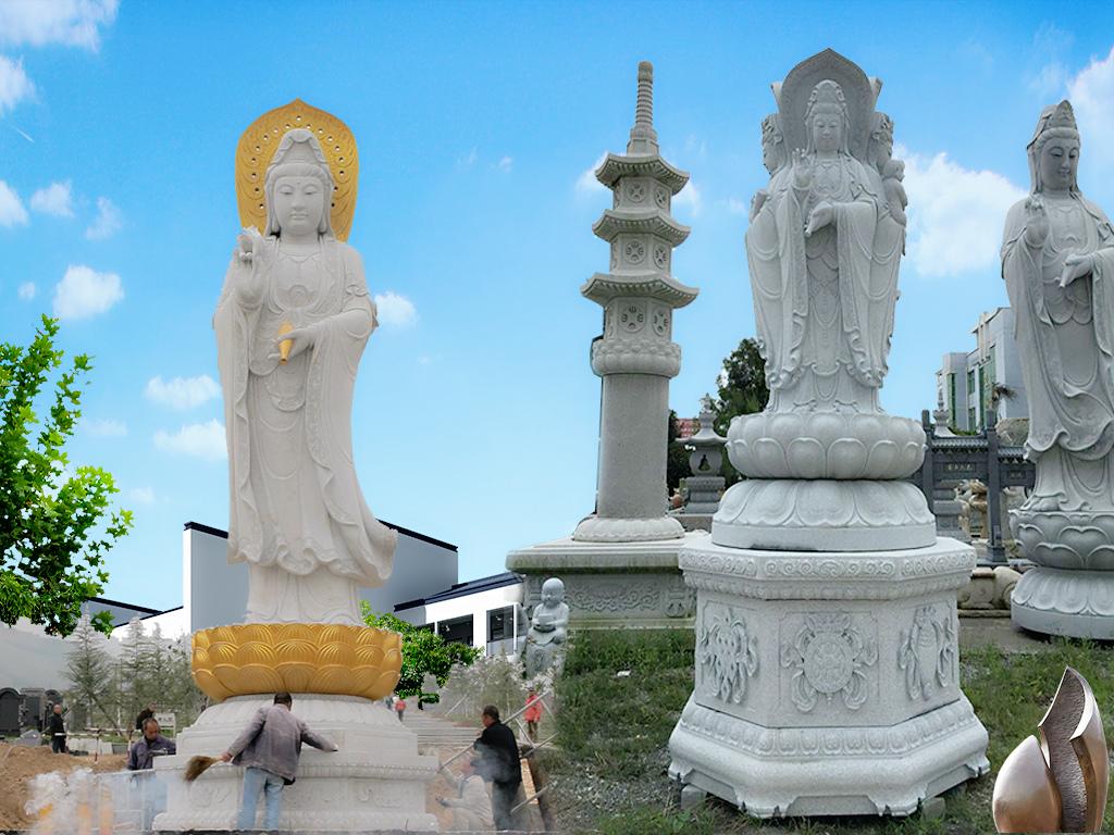 石雕观音菩萨雕刻样式图片