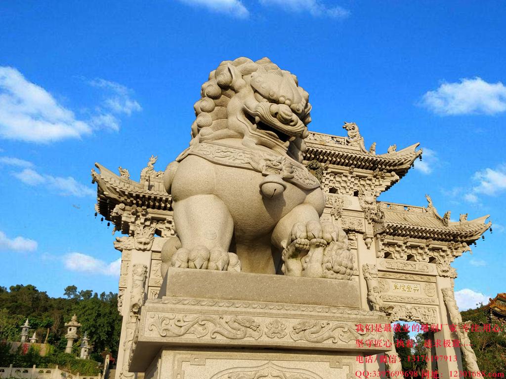门前石狮子图片的各种造型大全-最好的石狮子厂家